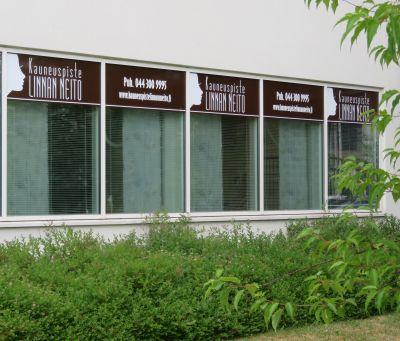 Ikkunat Talaskuja 3:n sisäpihalle.